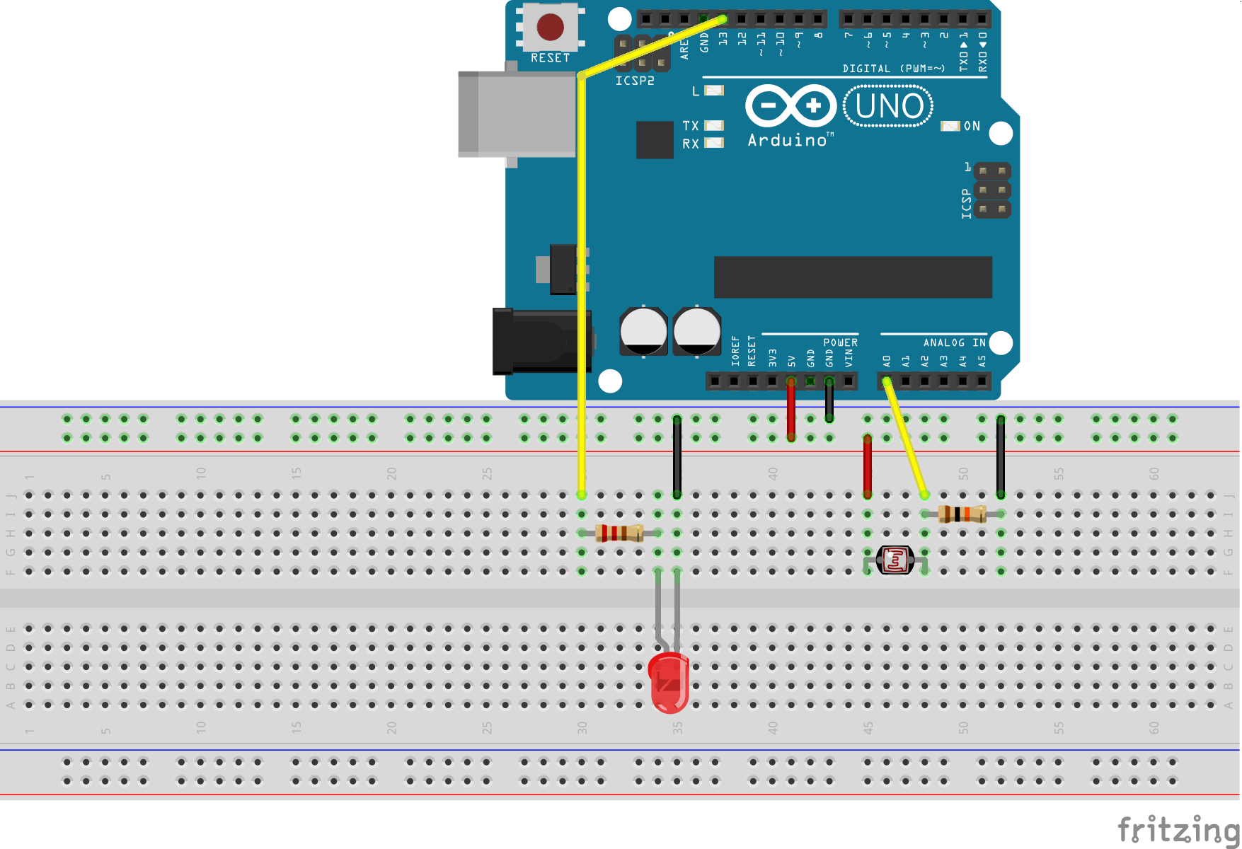 Resistive temperature sensor connection to arduino